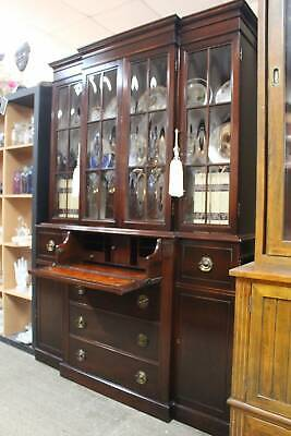 AU1496.25 • Buy A Vintage Mahogany Convex Glazed Bookcase Display Cabinet With Bureau Desk