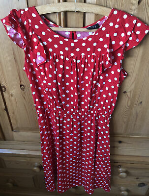 Next Girls Red Polka Dot Dress With White Spots. For Age 12 Years • 5£