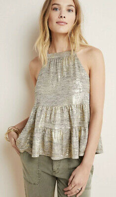 $ CDN33.75 • Buy NWT Anthropologie Becca Distressed Gold Tiered Babydoll Tank Size Large L