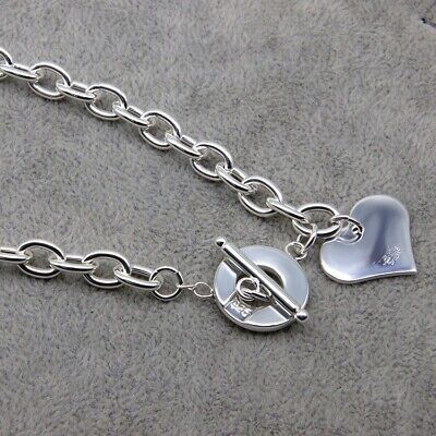 £12.99 • Buy 925 Sterling Silver Necklace Heart Pendant Chain Jewellery Womens With Rhodium