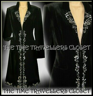 NEW LAURA ASHLEY Black Silk Velvet Coat Embellished Embroidery Jacket UK 8 36 4 • 175£
