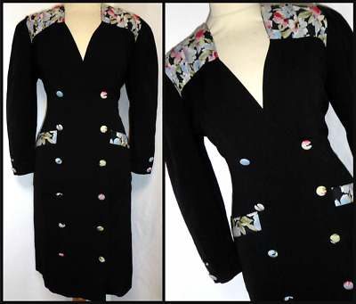 Vintage High 80s Fitted Wiggle Hourgalss Power Dress UK 12 14 • 20£
