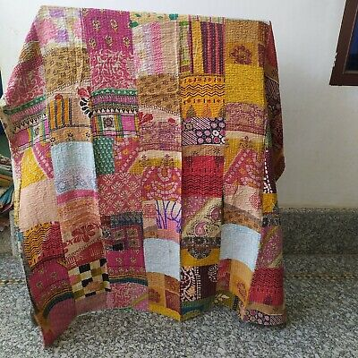 Indian Cotton Kantha Bedspread Quilt Coverlet Blanket Gudari Handmade Throw Twin • 23.99£