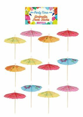 12 Umbrella Food Sticks - Cocktail Drinks Luau BBQ Catering Party Birthday • 1.49£