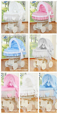 £299 • Buy New My Sweet Baby Wicker Crib Cot On Wheels With Hood Bedding Covers & Mattress