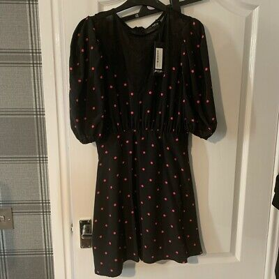Nasty Gal Black And Pink Polka Dot Mini Dress With Puff Sleeves Size 10 • 10£