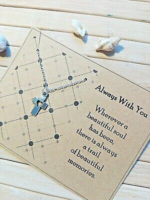 £3.99 • Buy Always With You Sympathy Bereavement Gift Card Cross Heart Necklace Memory
