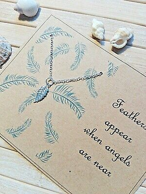 £3.99 • Buy Angels Are Near Sympathy Bereavement Condolence Card & Gift Feather Necklace