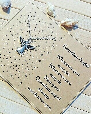 £3.99 • Buy Guardian Angel Sympathy Bereavement Condolence Card & Gift Angel Necklace Memory