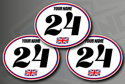 3 X Retro Oval Race Number Stickers - Custom Name, Flag - Vinyl Decals Car Track • 12£