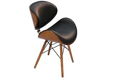 £99 • Buy Dining Chair Designer Faux Black Leather Solid Wood Walnut Finish