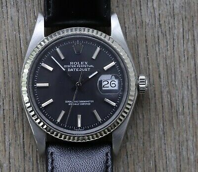 $ CDN6412.05 • Buy Rolex Oyster Perpetual Datejust 36mm Black Dial 1601 - 1970