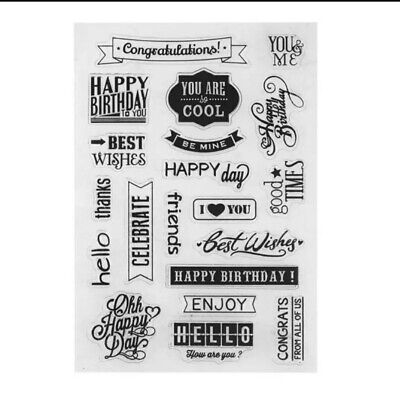 Silicone Transparent Clear Stamp Happy Birthday For Scrapbooking Card Making • 5.50£