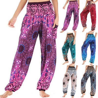 AU28.69 • Buy Plus Size Women Boho Floral Yoga Harem Pants High Waist Wide Leg Baggy Trousers