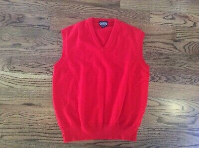 $19.99 • Buy Lands' End Mens Large 100% Lambswool Red Christmas Sweater Vest Stretchy England