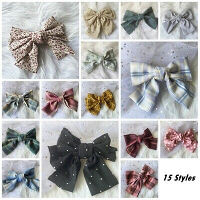 AU9.95 • Buy Women Girl Hair Accessories - Large Patterned Hair Bow Barrette Clip AU SELLER