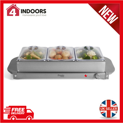 £24.99 • Buy Presto Tower PT16021GRY 200W Three Tray Buffet Server With Non-Stick Trays - New