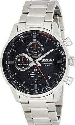 Seiko Mens Chronograph Watch With Silver Strap And Black Dial SSB313P1 • 129.99£