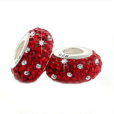 1 Red Crystal Charm Bead 925 Silver - Christmas Gift Wife Mum Sister Daughter • 5.95£