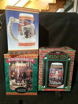 $ CDN101.74 • Buy Budweiser Beer Clydesdale Steins Lot Of 3 Holiday Collectible 1990s Orig. Boxes