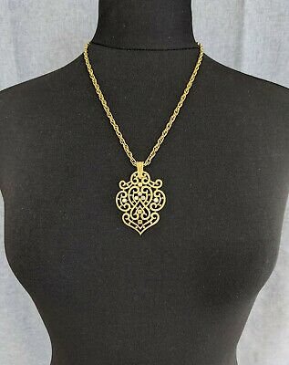 £60 • Buy Lovely Vintage Gold-tone Openwork Pendant Necklace By Trifari Jewellery