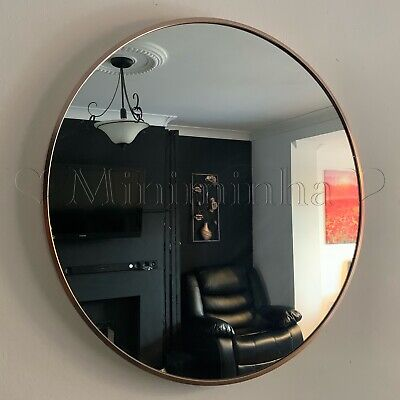 Industrial Style Round Wall Mirror Brushed Rose Gold Metal Frame Round Mirror • 44.50£