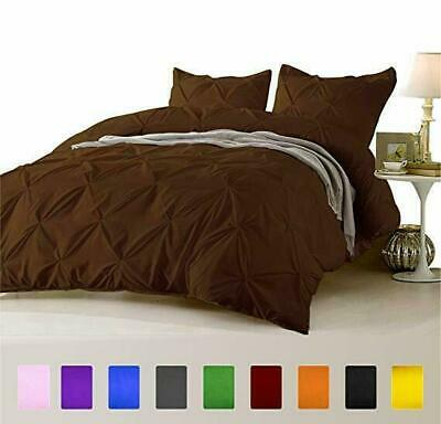 Chocolate Solid 1000 TC Egyptian Cotton 3 PC Pinch Pleated Duvet Set+Bed Skirt • 119.99£