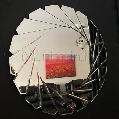 Art Deco Round Swirl Bevelled Wall Mirror Bedroom Bathroom Hallway Mirror 60cm • 52.99£