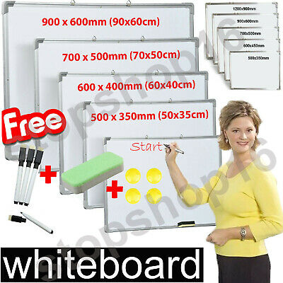 Magnetic Whiteboard Dry Wipe Small Large White Board Office Home School Notice • 22.45£
