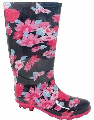 Kids Girls Pink Flower Print Wellies Wellington Womens Adults Boots Size 13-6 Uk • 10.95£