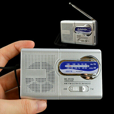 Mini Portable Pocket AM/FM Radio Music Receiver Speaker Telescopic Antenna UK • 7.37£