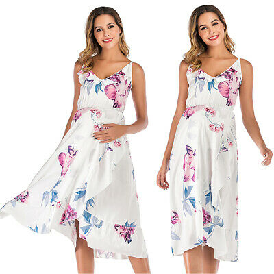 AU17.28 • Buy Women Maternity Strappy Midi Dress Frill Holiday Floral Party Pregnant Sundress