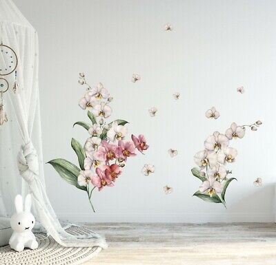 Orchid Branch Flower Wall Decal Kids Nursery Stickers Baby Cot Decor Art Mural • 17.04£