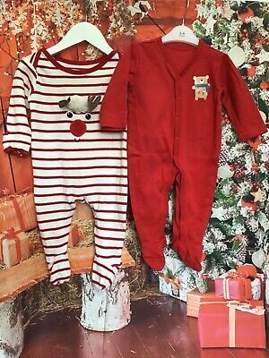 Gorgeous Christmas Baby Grows  X2 Age 3-6 Months Reindeer Excellent Condition  • 3.99£