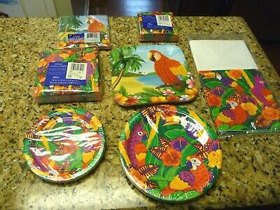 Luau Party Dinner Luncheon Lot Napkins Tablecover Tropical Amscan Plates Hawaii • 19.35£