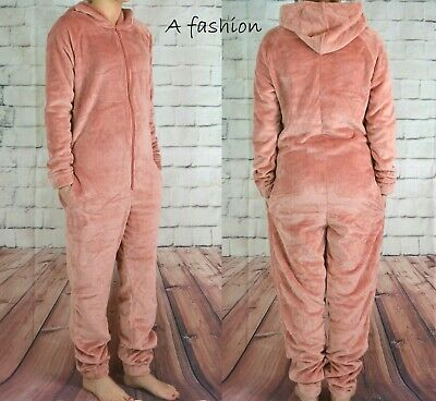 Next New Blush Fleece All In One Ladies Hooded Zip Up Jump Suit Pyjamas Uk 6-22 • 18.99£
