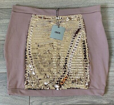 Asos Taupe Bodycon Sequined Skirt - Size UK16 • 15£