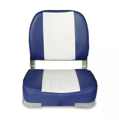 $ CDN83.77 • Buy Blue/White Boat Seat Low Back Comfortable Padded Bass Folding Fishing Chair