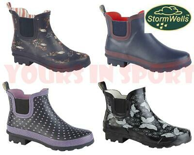 £19.95 • Buy Short Ankle Welly Wellingtion Boot - Navy Flower Butterfly - Size 4, 5, 6, 7, 8