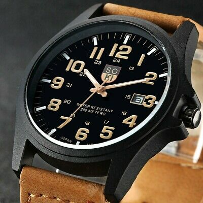 £5.89 • Buy Men's Military Leather Watch Quartz Analog Army Casual Wrist Watches Gift Option