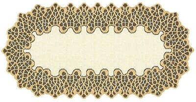 £9.49 • Buy Table Runner, Cream/dark Gold, Lace, Oval (40cm X 90cm) (16 X 35 ), Perfect Gift