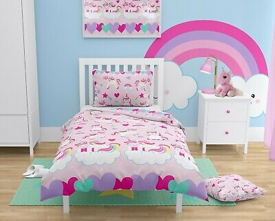 PINK UNICORNS Girls Bedding Set For Cot/Cot Bed Baby & Toddler 100% COTTON • 14.99£
