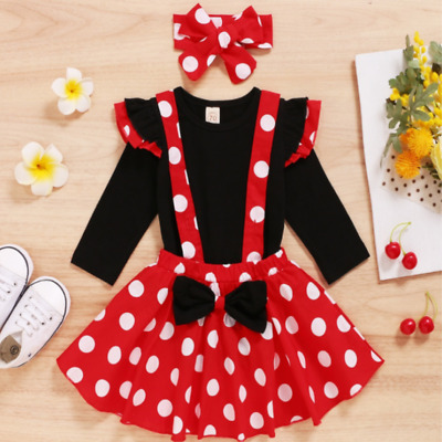 Baby Girls Minnie Style Red & White Polka Dot Pinafore Skirt Dress Outfit Set  • 9.99£