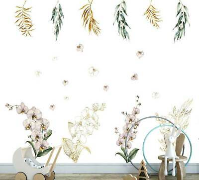 White Gold Orchid Branch Flower Wall Decal Kids Nursery Stickers Baby Cot Decor • 15£
