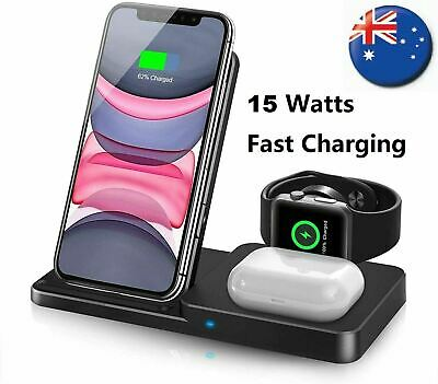 AU49.99 • Buy 3 In 1 Wireless Charger Dock For Apple Watch IPhone 13 12 11 Pro Max Airpod Pro