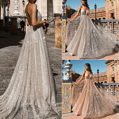 AU27.07 • Buy Women's Backless Plunging Neckline Maxi Dress Sparkly Formal Evening Party Gowns
