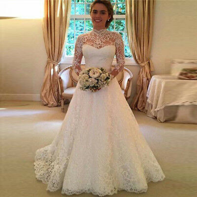 AU46.35 • Buy Princess Marriage Wedding Bridal Dress Formal Party White Ivory Lace Ball Gowns