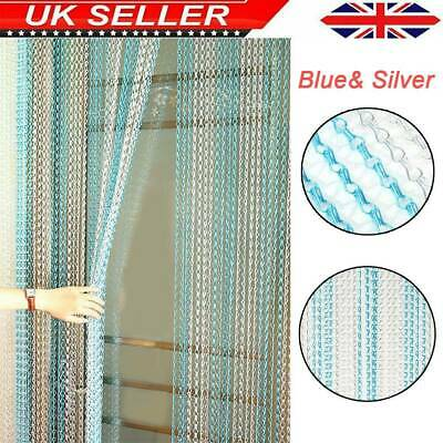 Metal Chain FLY Pest INSECT DOOR SCREEN CURTAIN Control Silver & Blue UK • 40.24£