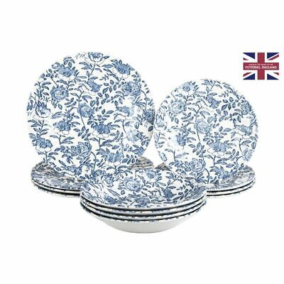 AU79 • Buy Queens By Churchill - Peony Chelsea Light Blue 12pc Dinner Set (Made In England)