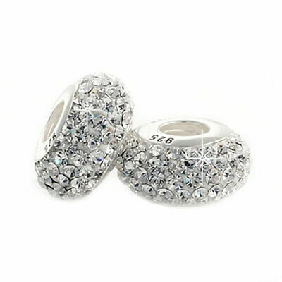 1 Clear Crystal Charm Bead 925 Silver - Gift For Wife Mum Sister Daughter • 5.95£